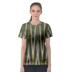 Green Brown Zigzag Women s Sport Mesh Tee by BrightVibesDesign