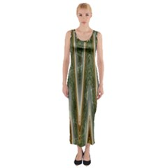 Green Brown Zigzag Fitted Maxi Dress by BrightVibesDesign