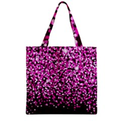 Pink Glitter Rain Grocery Tote Bag by KirstenStar