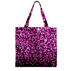 Pink Glitter Rain Zipper Grocery Tote Bag by KirstenStar