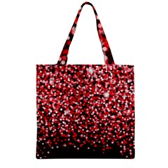 Red Glitter Rain Grocery Tote Bag by KirstenStar
