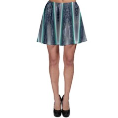 Blue Turquoise Zigzag Pattern Skater Skirt by BrightVibesDesign