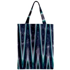 Blue Turquoise Zigzag Pattern Zipper Classic Tote Bag by BrightVibesDesign