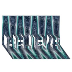 Blue Turquoise Zigzag Pattern Believe 3d Greeting Card (8x4)  by BrightVibesDesign