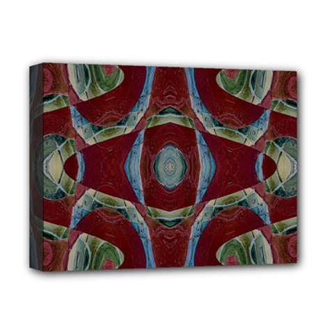 Fancy Maroon Blue Design Deluxe Canvas 16  X 12   by BrightVibesDesign