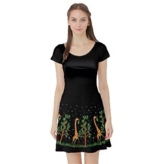 Retro Giraffe Short Sleeve Skater Dress