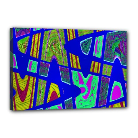 Bright Blue Mod Pop Art  Canvas 18  X 12