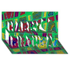 Bright Green Mod Pop Art Happy Birthday 3d Greeting Card (8x4)  by BrightVibesDesign