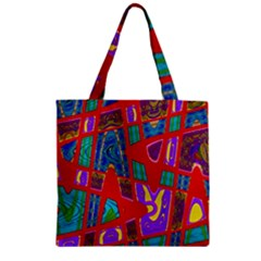 Bright Red Mod Pop Art Zipper Grocery Tote Bag by BrightVibesDesign