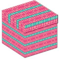 Pink Blue Rhombus Pattern                               Storage Stool by LalyLauraFLM