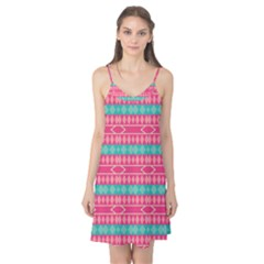 Pink Blue Rhombus Pattern                               Camis Nightgown