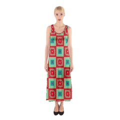 Blue Red Squares Pattern                                Full Print Maxi Dress by LalyLauraFLM