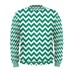 Emerald Green & White Zigzag Pattern Men s Sweatshirt by Zandiepants