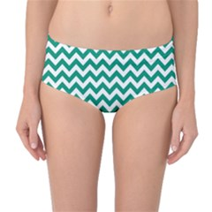 Emerald Green & White Zigzag Pattern Mid Waist Bikini Bottoms by Zandiepants