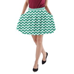 Emerald Green & White Zigzag Pattern A-line Pocket Skirt