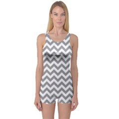 Medium Grey & White Zigzag Pattern One Piece Boyleg Swimsuit by Zandiepants