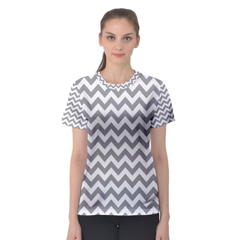 Medium Grey & White Zigzag Pattern Women s Sport Mesh Tee by Zandiepants