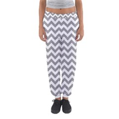 Medium Grey & White Zigzag Pattern Women s Jogger Sweatpants by Zandiepants