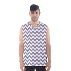Medium Grey & White Zigzag Pattern Men s Basketball Tank Top by Zandiepants