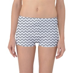 Medium Grey & White Zigzag Pattern Boyleg Bikini Bottoms by Zandiepants