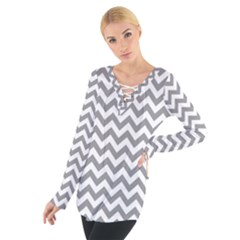 Medium Grey & White Zigzag Pattern Women s Tie Up Tee by Zandiepants
