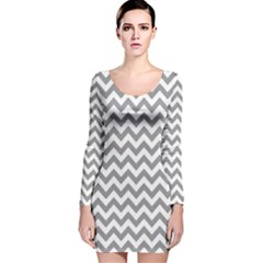 Medium Grey & White Zigzag Pattern Long Sleeve Velvet Bodycon Dress by Zandiepants