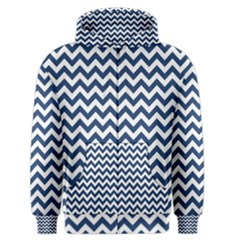 Navy Blue & White Zigzag Pattern Men s Zipper Hoodie