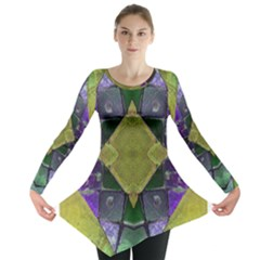 Purple Yellow Stone Abstract Long Sleeve Tunic  by BrightVibesDesign