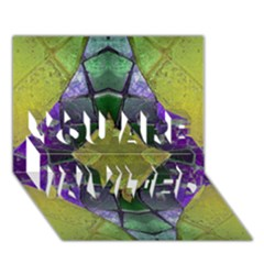 Purple Yellow Stone Abstract You Are Invited 3d Greeting Card (7x5)  by BrightVibesDesign