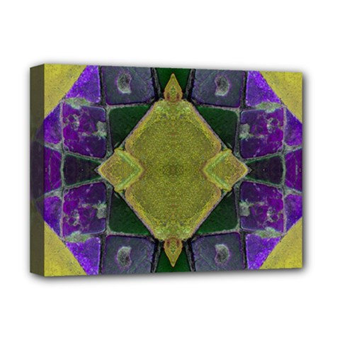 Purple Yellow Stone Abstract Deluxe Canvas 16  X 12   by BrightVibesDesign