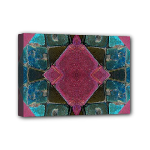 Pink Turquoise Stone Abstract Mini Canvas 7  X 5  by BrightVibesDesign