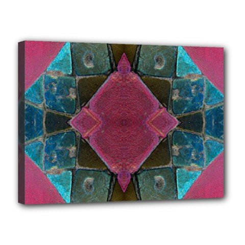 Pink Turquoise Stone Abstract Canvas 16  X 12  by BrightVibesDesign