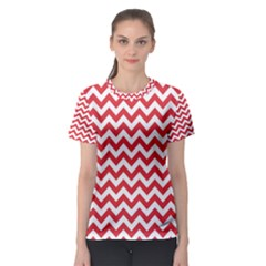 Poppy Red & White Zigzag Pattern Women s Sport Mesh Tee