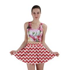 Poppy Red & White Zigzag Pattern Mini Skirt
