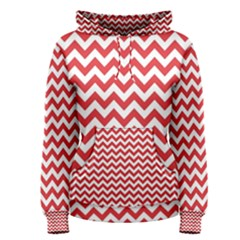 Poppy Red & White Zigzag Pattern Women s Pullover Hoodie