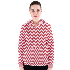 Poppy Red & White Zigzag Pattern Women s Zipper Hoodie