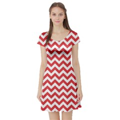 Poppy Red & White Zigzag Pattern Short Sleeve Skater Dress