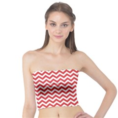 Poppy Red & White Zigzag Pattern Tube Top