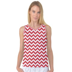Poppy Red & White Zigzag Pattern Women s Basketball Tank Top