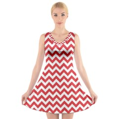 Poppy Red & White Zigzag Pattern V Neck Sleeveless Skater Dress