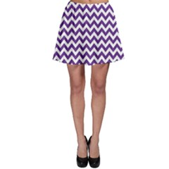 Royal Purple & White Zigzag Pattern Skater Skirt by Zandiepants