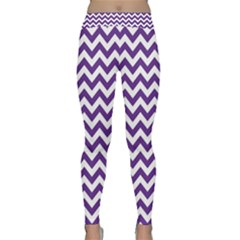 Royal Purple & White Zigzag Pattern Yoga Leggings by Zandiepants