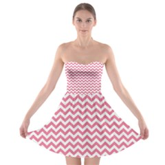 Soft Pink & White Zigzag Pattern Strapless Dresses