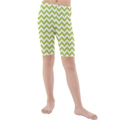 Spring Green & White Zigzag Pattern Kid s Mid Length Swim Shorts