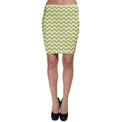 Spring Green & White Zigzag Pattern Bodycon Skirt