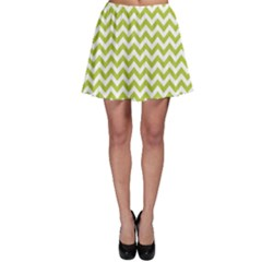 Spring Green & White Zigzag Pattern Skater Skirt
