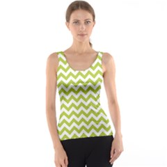 Spring Green & White Zigzag Pattern Tank Top