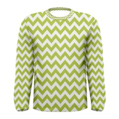 Spring Green & White Zigzag Pattern Men s Long Sleeve Tee