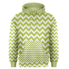 Spring Green & White Zigzag Pattern Men s Pullover Hoodie
