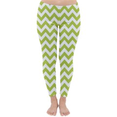 Spring Green & White Zigzag Pattern Winter Leggings  by Zandiepants